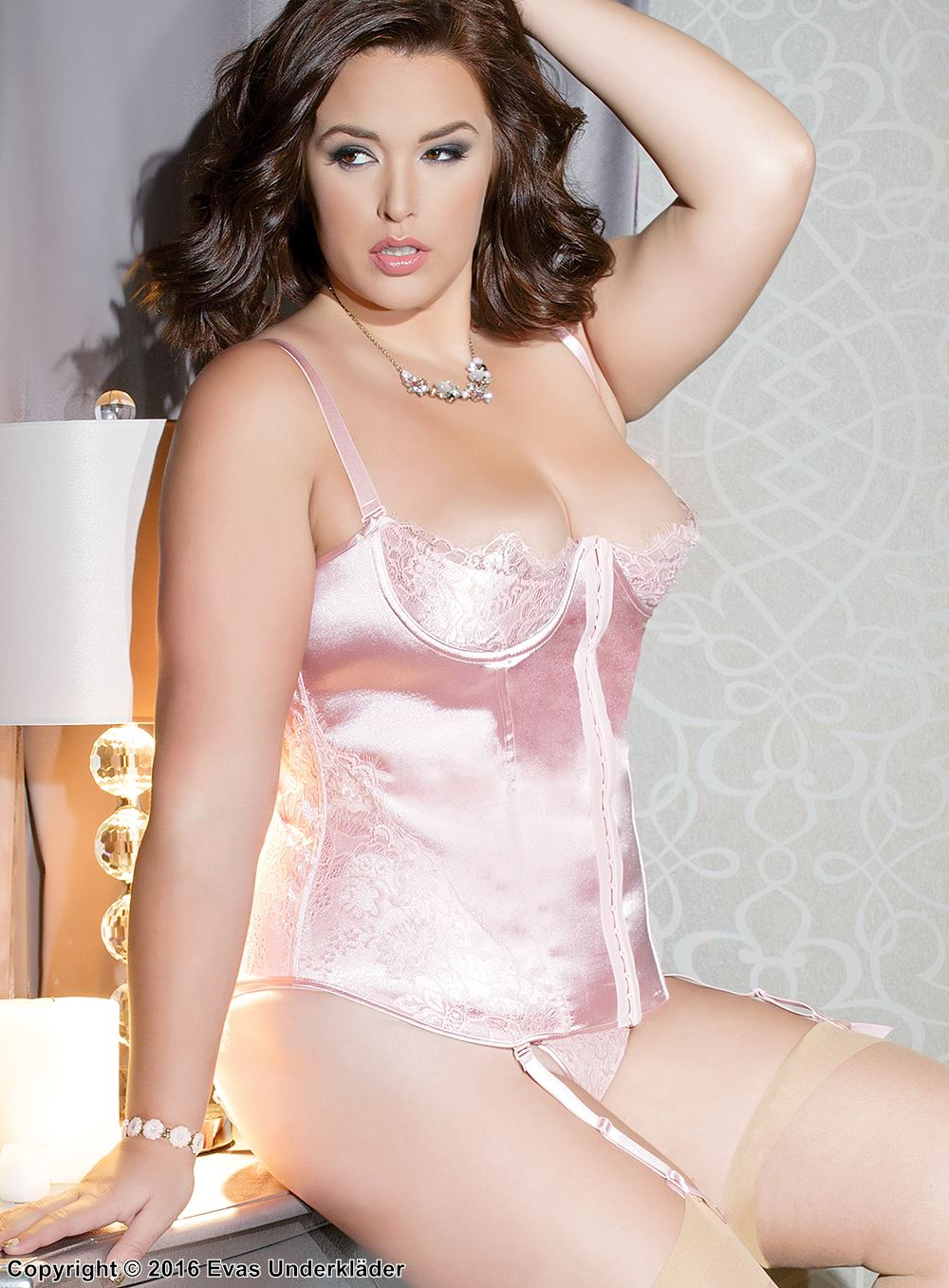 feec4803a7f Satin bustier with romantic eyelash lace